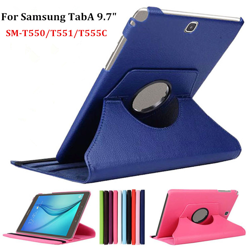 """Factory Sale 360 Rotating PU Leather Stand Case Cover For Samsung Galaxy Tab A 9.7"""" SM-T550/T551/T555C Tablet Case(China (Mainland))"""