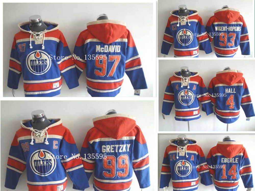 Cheap 14 Jordan Eberle 97 Connor McDavid 99 Gretzky 4 Hall 2015 New Ice Hockey Jersey Hoodies Hooded Sweatshirt Sale,wholesale(China (Mainland))