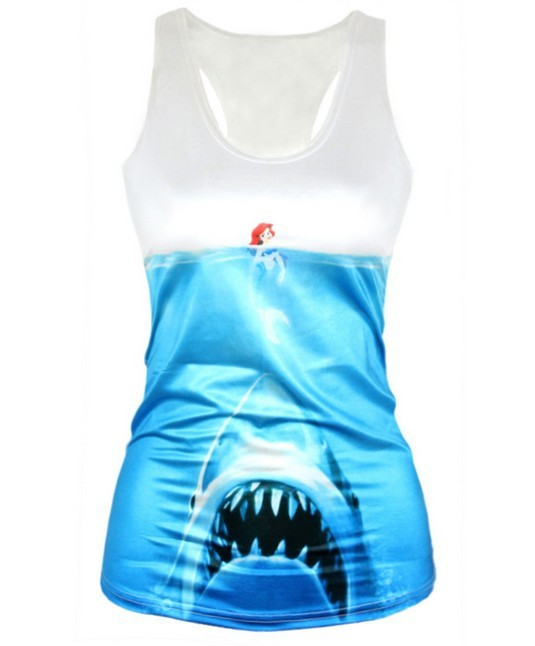 Free shipping women's vest Princess and sharks lady tanks(China (Mainland))