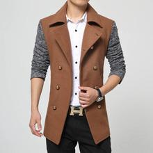 Abrigo Hombre 2015 Fashion Winter Black Long Double Breasted Trench Coat Men Wool Peacoat Erkek Mont Kaban Mens Coats Overcoats(China (Mainland))