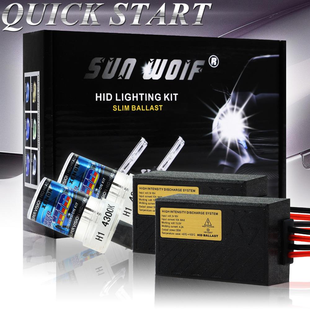 [해외]1 55W 12V AC 빠른 시작 논 HID 변환 키트 H1, H3 H7 H9 ..
