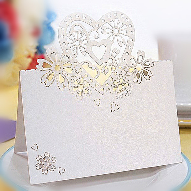 50pcs mix color Laser Cut Place Cards Wedding Name Cards For Wedding Party Table Decoration wedding