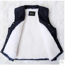 2014 Hot Sale Middle-Aged Men Sheepskin Winter Warm Vest Casual Brand New Plus Size  Woolen Thick Cotton Waistcoat Size 4Xl S985(China (Mainland))