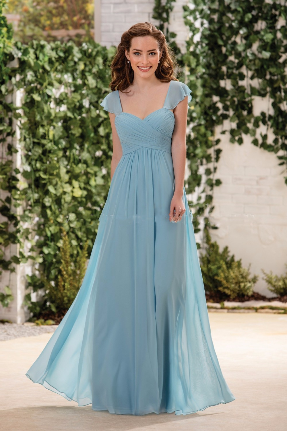 Sexy Sweetheart Chiffon Cheap Long Blue Bridesmaid Dresses