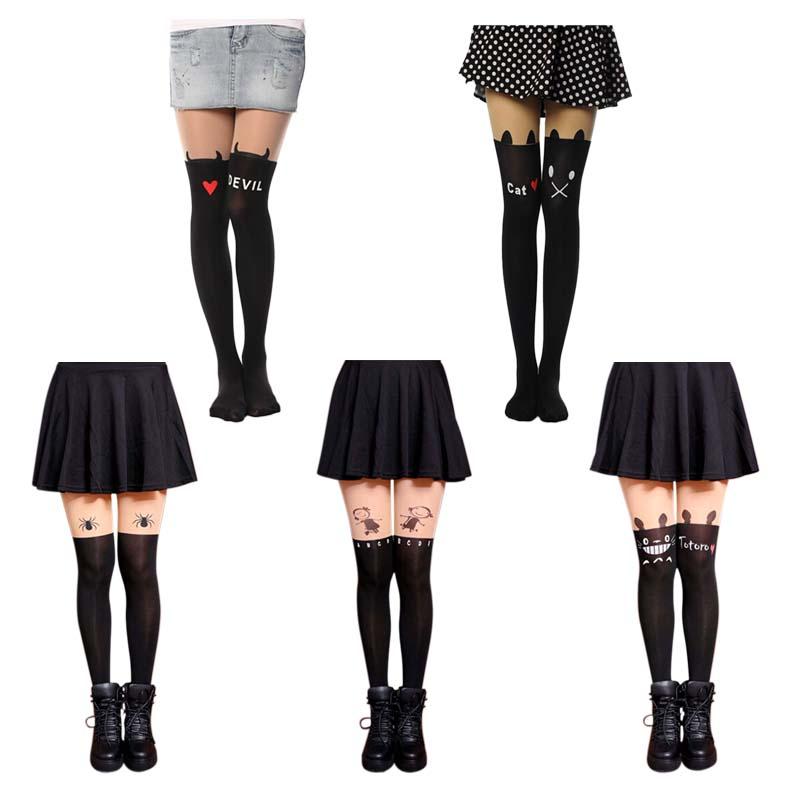 New Fashion Women Nylon Cute Cat Totoro Knee High Tights 16 Styles Tattoo Stockings Girls Sexy Pantyhose Over Knee Stockings(China (Mainland))