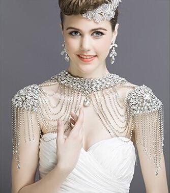 J11 New Luxurious Bride Crystal tassel shoulder chain Shinning Full rhinestone necklace wedding Jewelry accessories