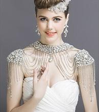 J11 New Luxurious Bride Crystal tassel shoulder chain Shinning Full rhinestone necklace wedding Jewelry accessories(China (Mainland))