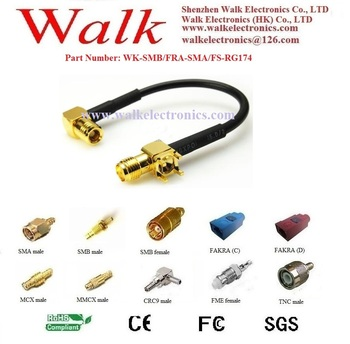 RF cable assembly:SMB female right angle to SMA female straight with PCB mount with RG174 cable