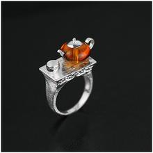 Новое поступление 925 стерлингового серебра Ювелирные изделия  Эксклюзив заварочный чайник дизайн натуральный янтарь кольцо  для женщин  уникальный подарок(China (Mainland))