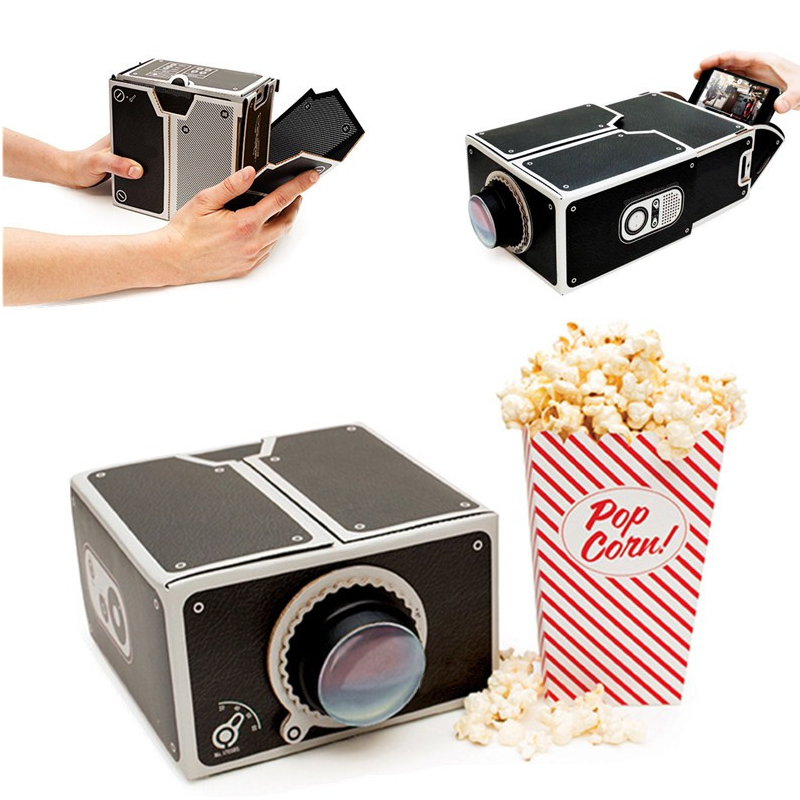 New arrival hot sale 8x zoom portable diy cardboard for Latest pocket projector