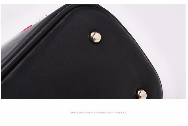 Кошельки И Сумки Набор Мешок Дизайнер Сумочку Для Женщин Мода PU Кожа Леди Черный Кошелек 2016 Известная Марка Губы Плеча мешок