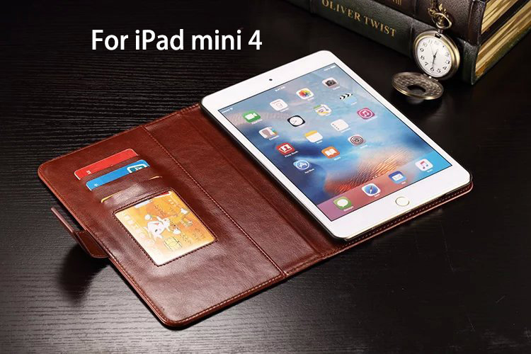 Oil Wax PU Leather Wallet Case For Apple iphone Pad mini 4 Tablet Flip Cover Magnetic Leather Phone Case Stand Card Holder Brown(China (Mainland))