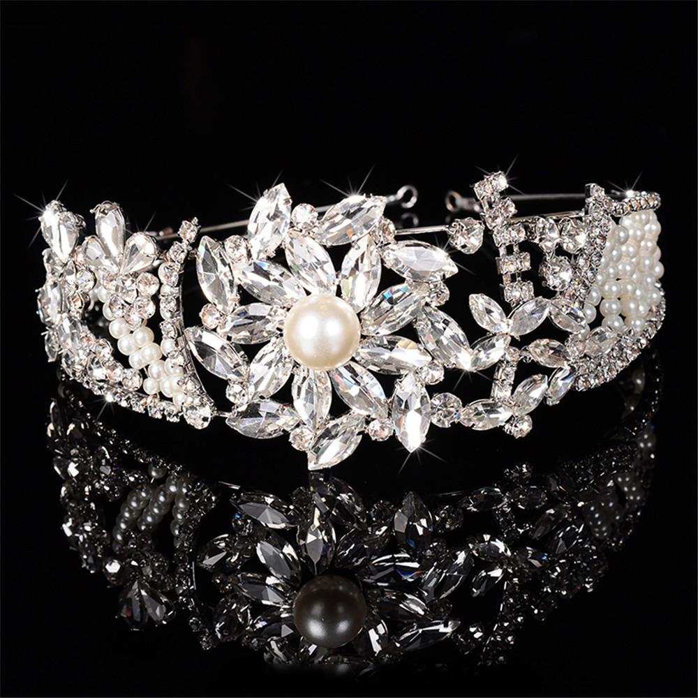 Великолепная тиара для женщин имитация перл & австрийский хрусталь свадьба волосы ювелирные изделия 585 позолоченный свадебный венец подарки HF018
