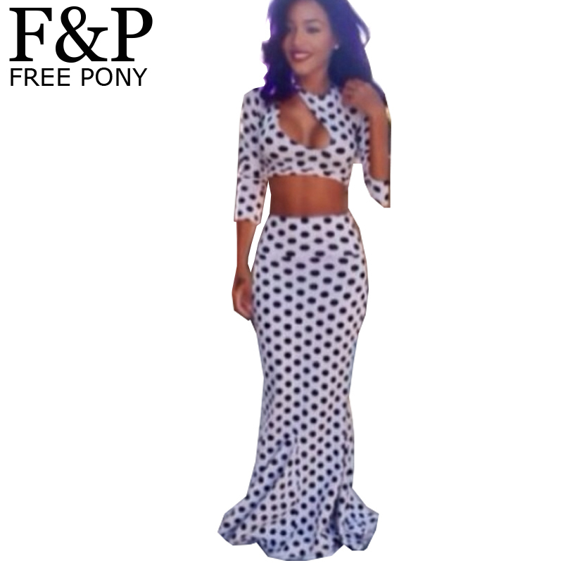 Celebrity Brand New 2014 Summer Women poket Dot Bandage Bodycon Dress cut out Maxi Evening Party Prom two piece sets dress(China (Mainland))