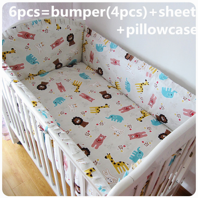 Promotion! 6PCS baby bedding set 100% cotton baby bed sheet cot crib bedding set (bumpers+sheet+pillow cover)<br><br>Aliexpress