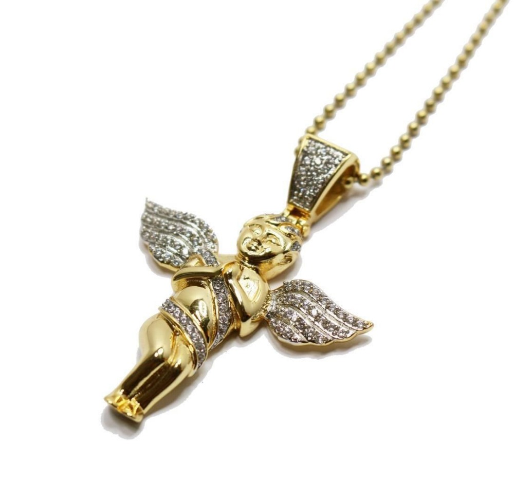gold chain for men bling bling hip hop jewelry Micro pave cz Angel Piece Necklace 24K gold chain Kaulakoru collier femme(China (Mainland))