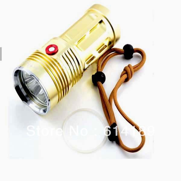 SKYRAY King 4xCree XML U2 3-Mode 3000LM LED Flashlight-Golden(4x18650)<br><br>Aliexpress