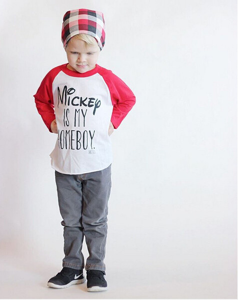Cute Autumn Kids Baby Boys Girls Cartoon Minnie Mouse Letter Long Sleeve Cotton T-shirt Top Blouse Clothes Outfit