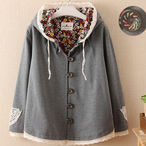 2 colors-- Desiogn colored thread buttons lacing patch batwing sleeve hooded sweatshirt  caidigan jacket  autumn outerwearОдежда и ак�е��уары<br><br><br>Aliexpress