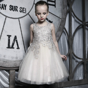 Big Brand Flower Girl Dresses For Weddings,Children Champagne Lace Ball Gown Princess Birthday Evening Party Dress(China (Mainland))