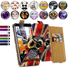 Fly IQ4504 Quad EVO Energie 5 Case Universal 5 Inch Phone Flip PU Leather Printed Cases Cover With Card Slots for fly iq 4504