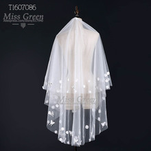 In Stock 1.5 Meters Butter fly Flower Cut Edge White Tulle Veils Two-Layer Wedding Veils Appliques Veils for Bride Veil 7086(China (Mainland))
