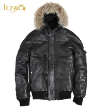 Factory Genuine Leather Duck Down Jacket Men Hood Real Sheepskin Air Force Pilot Thick Bomber Real Fur Parkas Winter Coat ZH144(China (Mainland))