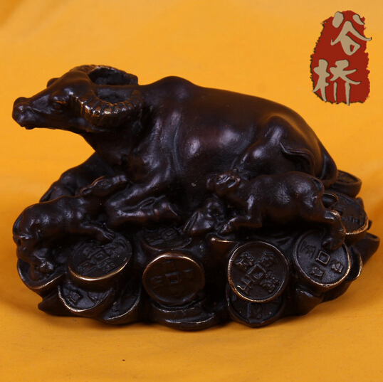 SUIRONG---419+++Bronze sculpture, topnew crafts small money, cattle decoration derlook lucky animal bronze sculpture, decoration(China (Mainland))