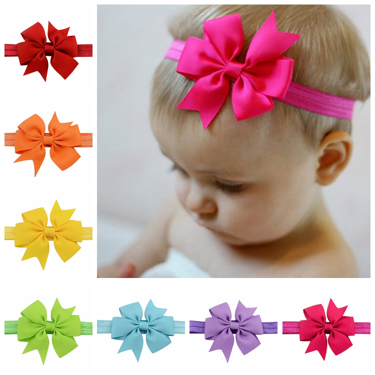 3 Inch 40Pcs/lot Elastic Grosgrain Ribbon Bow Flower Baby Headbands hair accessories Solid Color Headband DIY For Kids 567(China (Mainland))