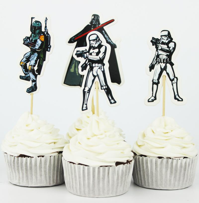 24pcs the star wars cupcake topper picks birthday wedding for Star wars decorations