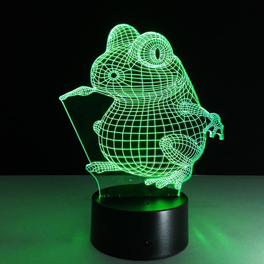 3D Frog Lamp 7 Color Led Night Lamps for Kids Touch Led USB Table Lampara Lampe Baby Sleeping Battery Powered Nightlight(China (Mainland))