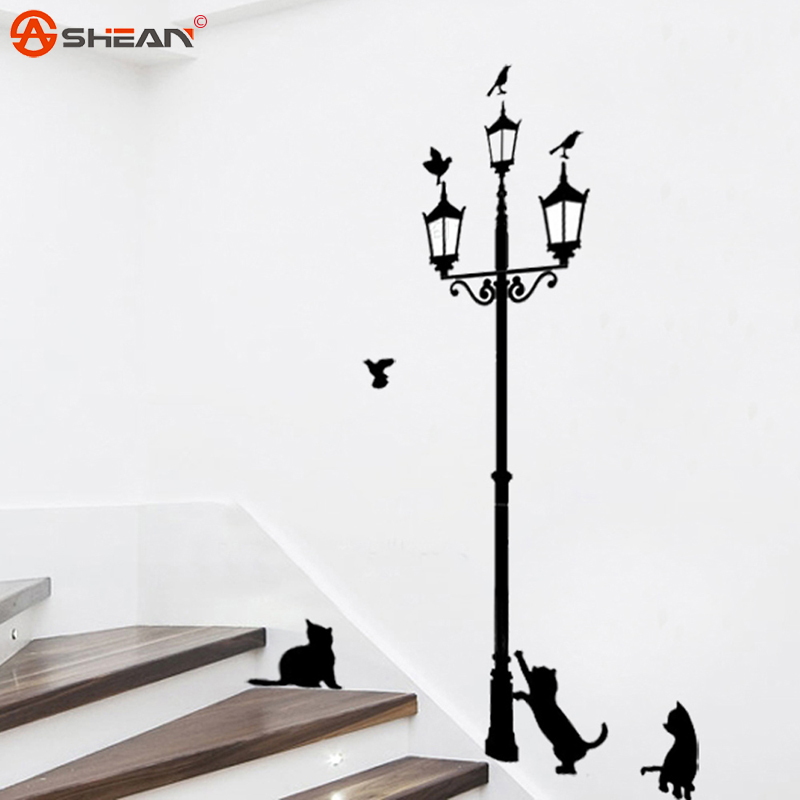 Cartoon Cats Under the Street Light Warm Romantic DIY Wall Stickers Kids Bedroom Living Room Home Decor Mural Decal(China (Mainland))
