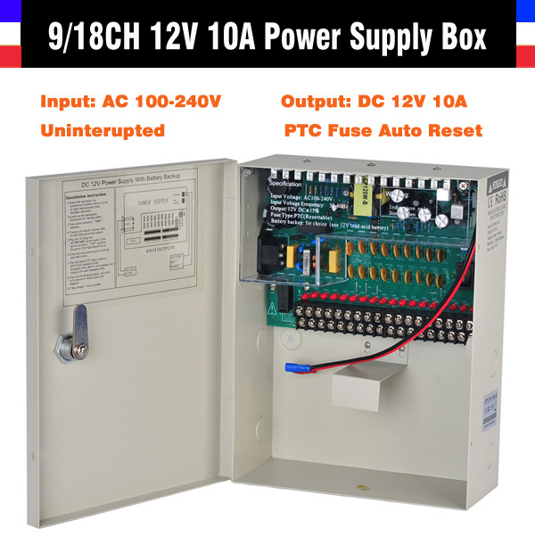 High Quality CE FCC ROHS Certification 9CH 18CH CCTV Power Supply 12V 10A Uninterrupted CCTV Power Box For CCTV Security Camera(China (Mainland))