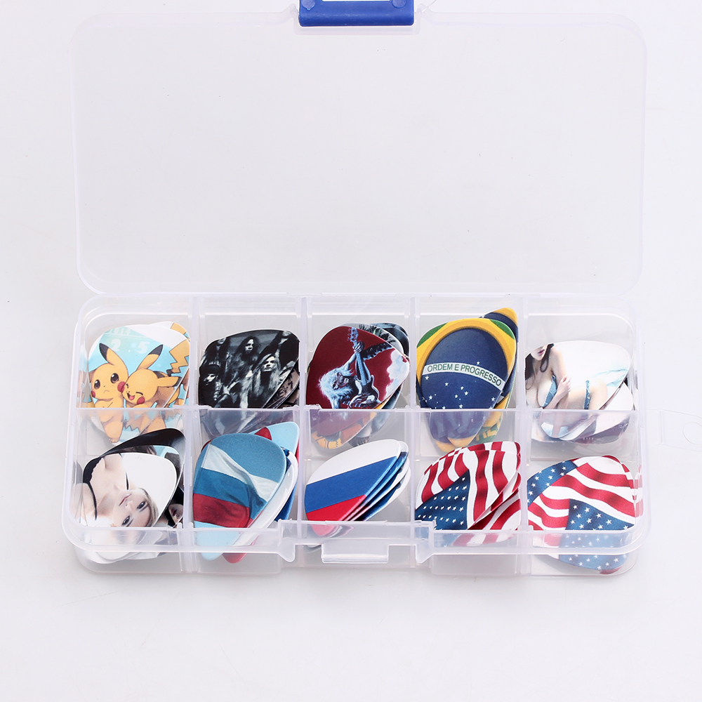 50PCS 0.46-1.0mm +1pcs picks case box high quality two side earrings pick DIY design guitar accessories guitar picks(China (Mainland))
