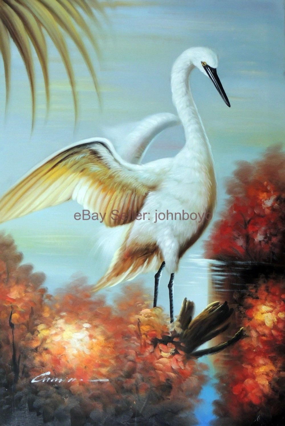High-quality Hand-painted Animal oil painting Modern on canvas(Unframed) Great White Heron Egret Bird Florida Everglades 24x36(China (Mainland))