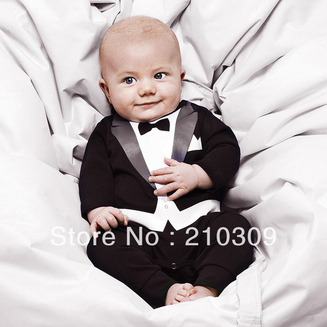 Hot!1pcs 100% cotton baby boy's Gentleman modelling romper infant long sleeve climb clothes kids outwear/clothes