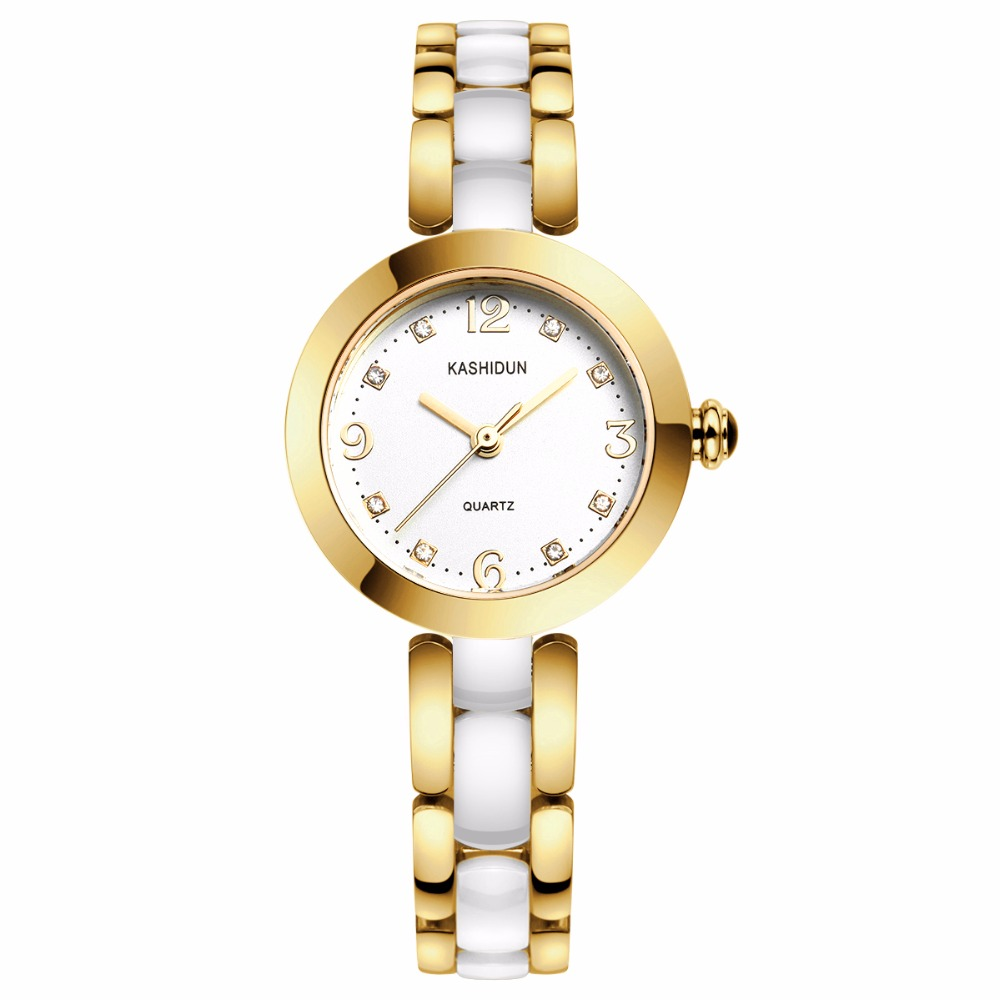KASHIDUN. Women's Watch Luxury Casual Fashion Dress Wrist Watches High-tech White Ceramic Steel Gold Bracelet Relogio Feminino