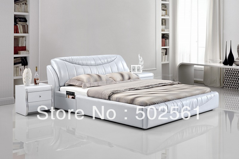 2014 new modern genuine leather bed include salt silver bedroom furniture double king queen(China (Mainland))
