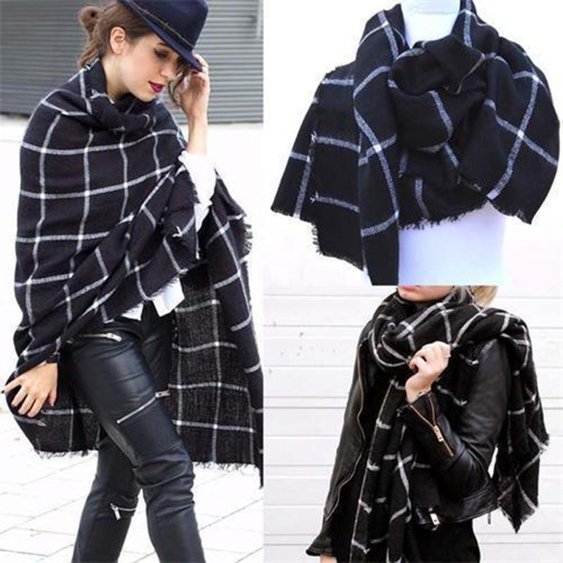 202x74cm Women Warm Large font b Tartan b font Scarf Shawl Blanket Wraps Pashmina Stoles Oversized