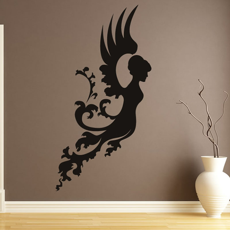 Living Room Wall Decorative Floral Angel Wall Stickers