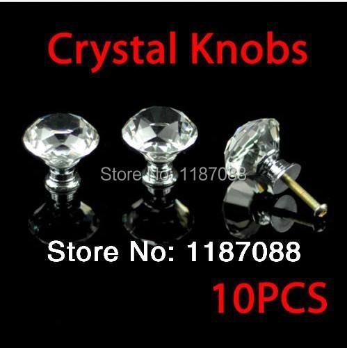 K9 Diamond Cabinet Crystal Knobs Door Handles Zinc Alloy base 30mm 10pc(China (Mainland))