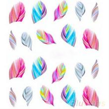 5pcs Fashion Feather Nail Art Water Transfer Sticker Rainbow Dreams Decal 2JC2