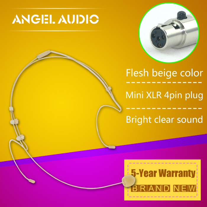 Free Shipping Flesh Colour Mini XLR 4 Pins TA4F 4PIN Connector Plug Headset Microphone For SHURE Wireless BodyPack Transmitter(China (Mainland))
