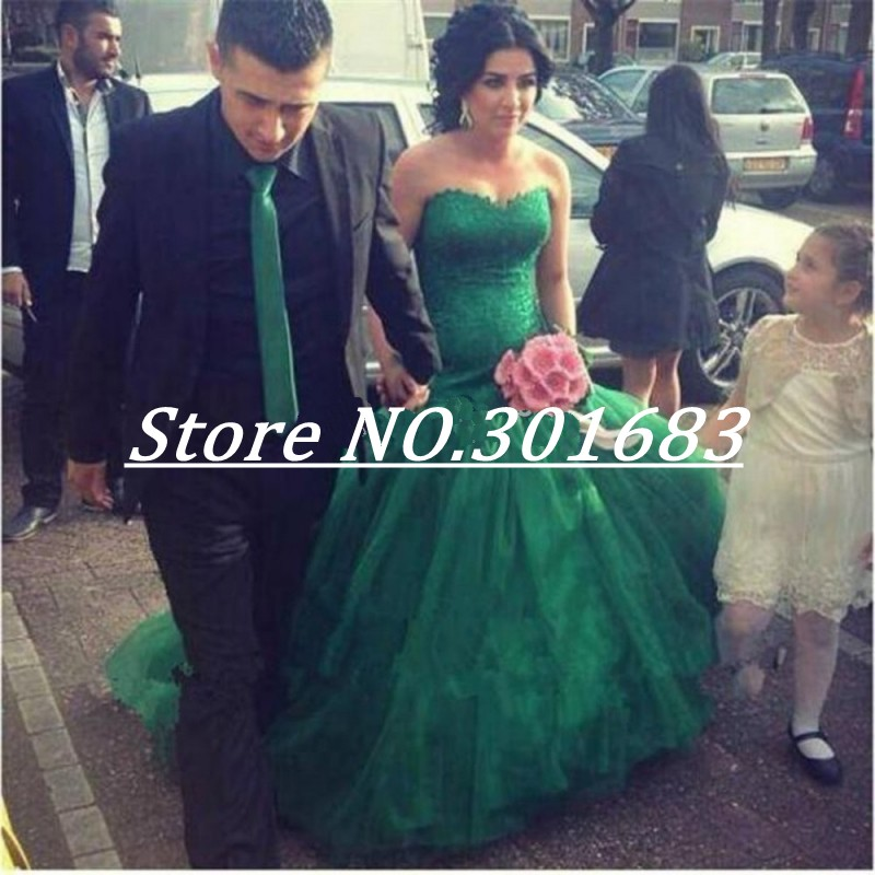 Sexy sweetheart a line green tulle lace applique strapless wedding dress 2016 bridal wedding gown(China (Mainland))