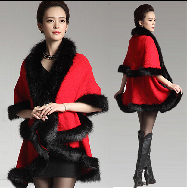 Womens Capes and Ponchoes Luxury Slim Long Fox Fur Trimmed Batwing Cardigan Cashmere Wool Coat Winter Warm Cloak Faux Fur Shawl(China (Mainland))