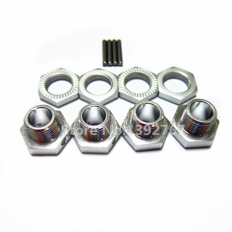 HSP 1/8 Spare Parts Tires Adapter Wheel Nut 4pcs/lot 17mm Aluminum Hex Hubs with Pins RC Car For 1/8 Nitro Ofna Hyper Buggy(China (Mainland))