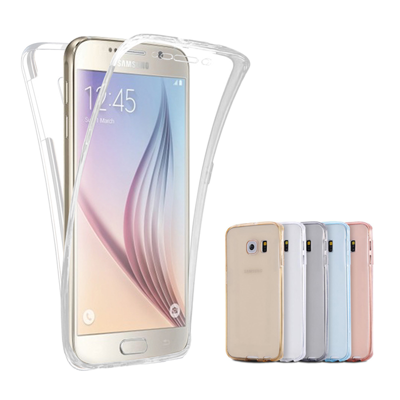 Case For Samsung Galaxy S7 S7 Edge S6 S6 Edge For iPhone 6 Plus 6S 6 Front Transparent TPU Soft Touch Case full body Clear Cover(China (Mainland))