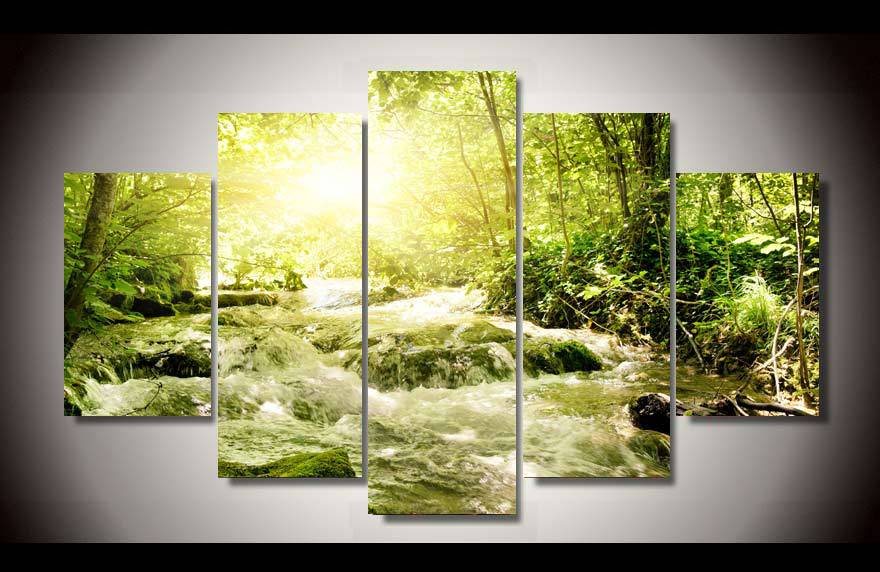 unframed Printed forest stream 5 piece picture painting wall art children's room decor poster canvas Free shipping(China (Mainland))