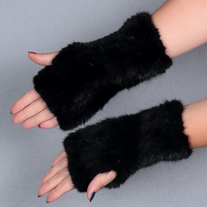 mink fur gloves black