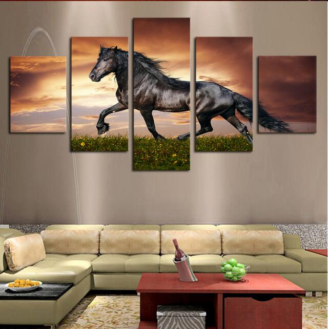 5 Pcs Unframed Black Horse OnThe Grass Oil Painting on Canvas Wall Art Hanging Picture by Number Fashion Home Decor(China (Mainland))